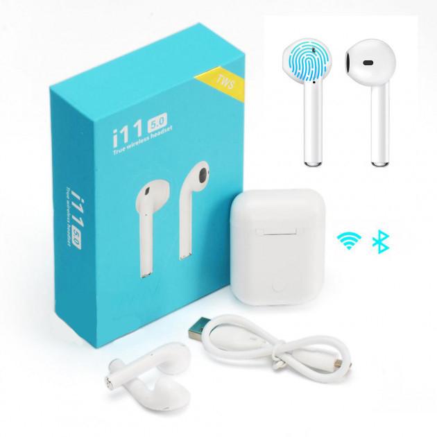 Бездротові навушники з сенсорним управлінням Unit i11 TWS Sensor Stereo Bluetooth 5.0. Колір: білий