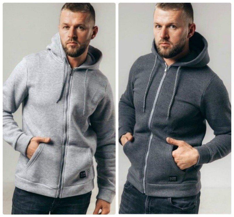 Модная мужская кофта тёплая на молнии с капюшоном и накладными карманами 2 цвета
