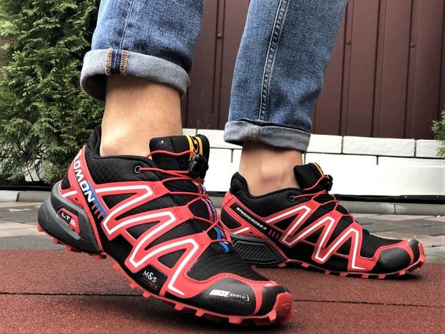Salomon Speedcross демісезонні чоловічі кросівки в стилі Саломон чорні з червоним