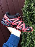 Salomon Speedcross 3 демисезонные мужские кроссовки в стиле Саломон черные с красным, фото 2