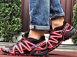 Salomon Speedcross 3 демисезонные мужские кроссовки в стиле Саломон черные с красным, фото 5