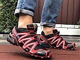 Salomon Speedcross 3 демисезонные мужские кроссовки в стиле Саломон черные с красным, фото 3