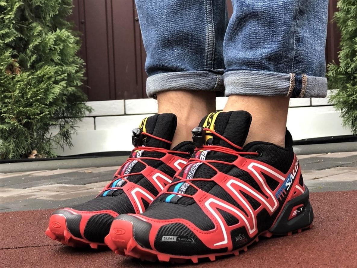 Salomon Speedcross 3 демисезонные мужские кроссовки в стиле Саломон черные с красным