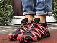 Salomon Speedcross 3 демісезонні чоловічі кросівки в стилі Саломон чорні з червоним