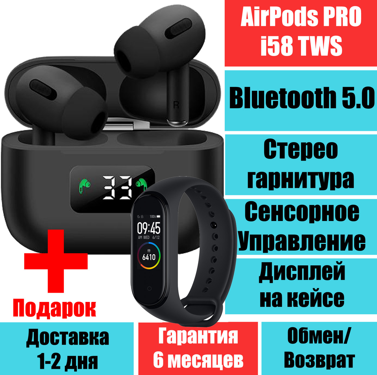 Наушники Аирподс Про i58 TWS APRO3 LCD Sensor Bluetooth 5.0 Стерео гарнитура + подарок браслет M4