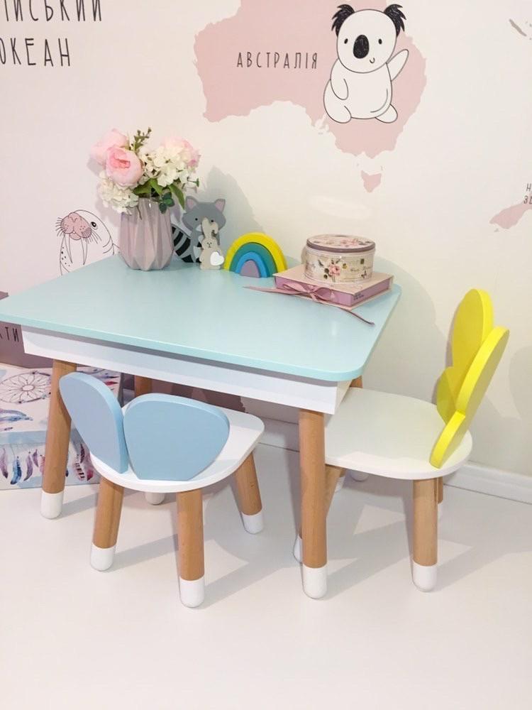 Детский стол облако с пеналом и 2 стула облако и бабочка