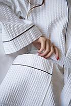 Женский  вафельный халат XXL с графитовым кантом, фото 2