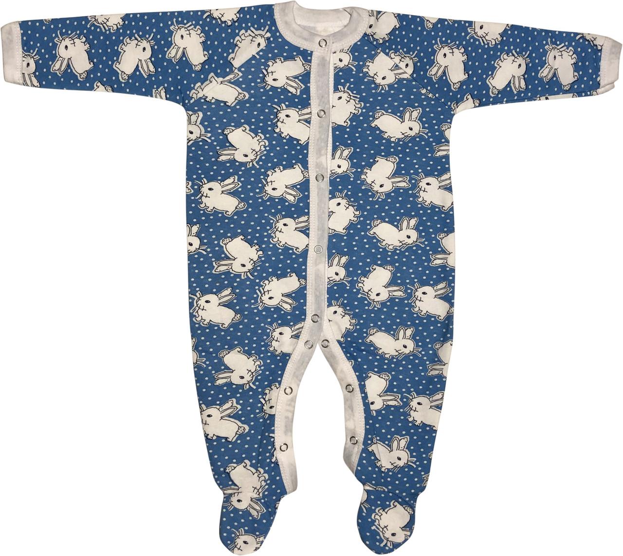 Тёплый человечек слип с начёсом на мальчика рост 68 3-6 мес для новорожденных хлопковый футер детский голубой