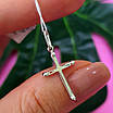 Нежный серебряный крестик женский с розовыми фианитами - Серебряный крестик с цирконием, фото 6