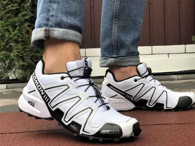 Демисезонные мужские кроссовки Salomon Speedcross 3 в стиле Саломон белые