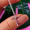Нежный серебряный крестик женский с розовыми фианитами - Серебряный крестик с цирконием, фото 5