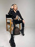 Женский модный спортивный костюм на флисе (оверсайз кофта и штаны с высокой талией)
