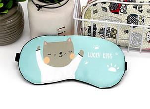 Маска для сна с гелевым вкладышем Eye Mask Бирюзовая Кот