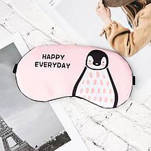 Маска для сна с гелевым вкладышем Eye Mask Розовая Пингвин