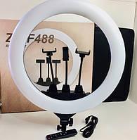 Кольцевая лампа Ring Light профессиональная светодиодная со светорассеивателем с пультом и сумкой 3 съёмных
