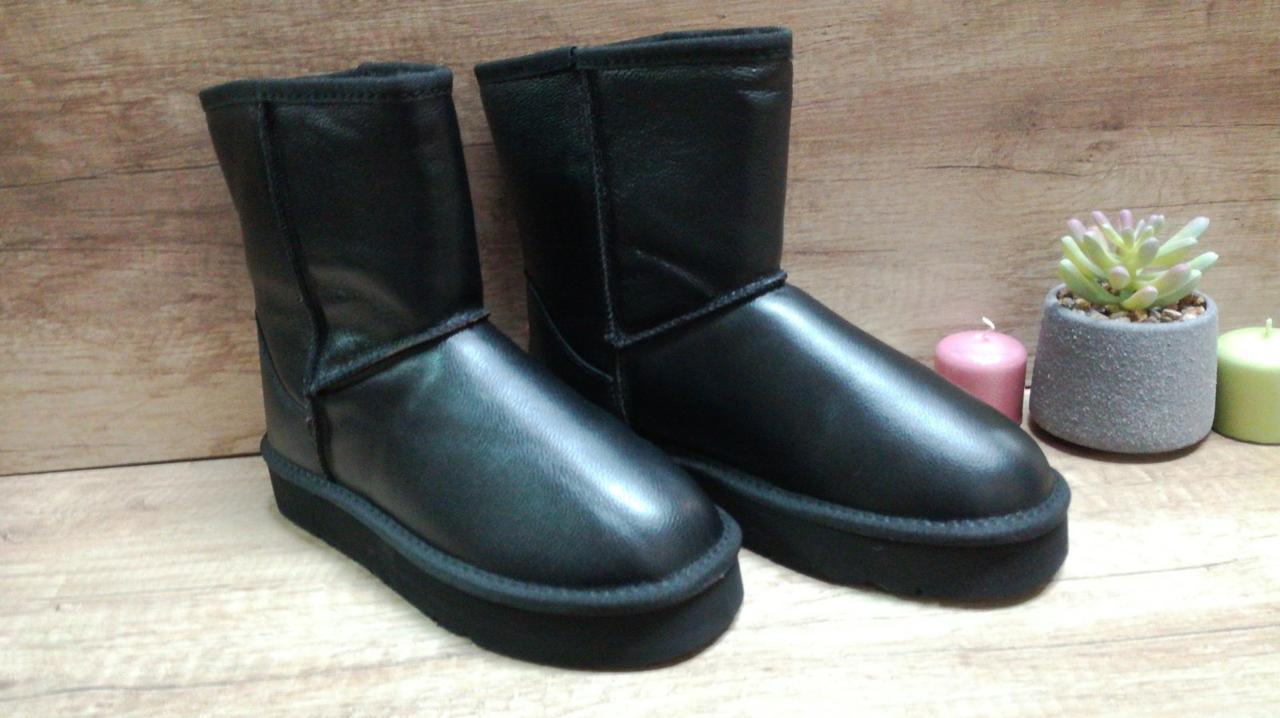 Зимние женские кожаные черные угги .