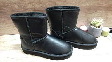 Зимние женские кожаные черные угги ., фото 3