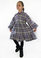 Теплое платье - рубашка для девочки, фиолетовое.