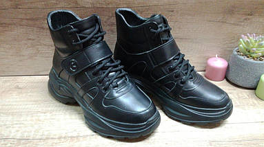 Женские кожаные зимние кроссовки черного цвета Kento., фото 2