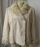 Дубленка женская модная теплая нарядная бренд Cecilia classic р.48-50 4245, фото 1