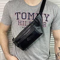 Мужская кожаная сумка бананка на пояс и через плечо Calvin Klein Кэльвин Кляйн реплика