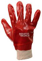"""Перчатки кислотостойкие, х/б трикотаж, полное ПВХ покрытие, вязаный манжет (красные),10,5"""" MASTERTOOL 83-0501"""