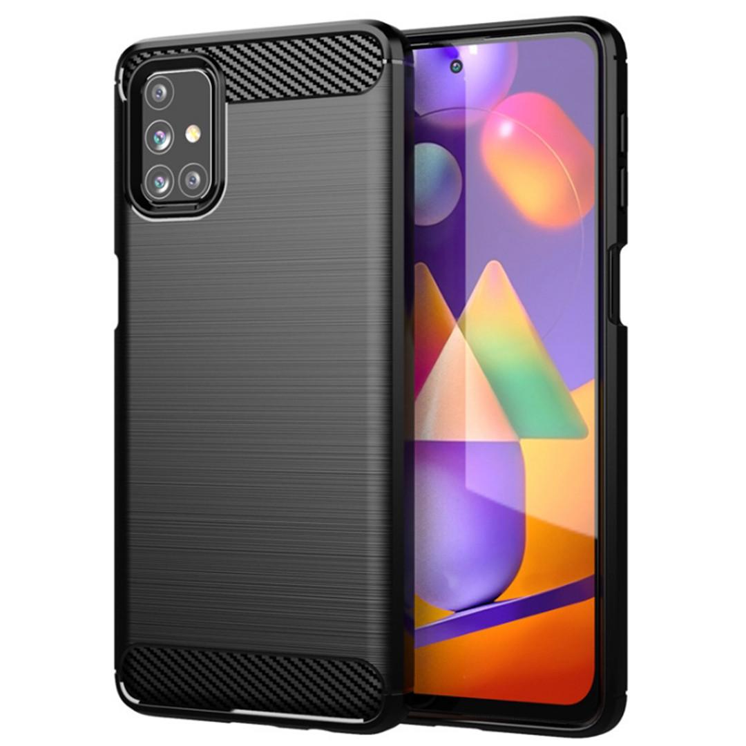 Противоударный чехол для Samsung Galaxy M31S (SM-M317), Rugged Carbon, черный
