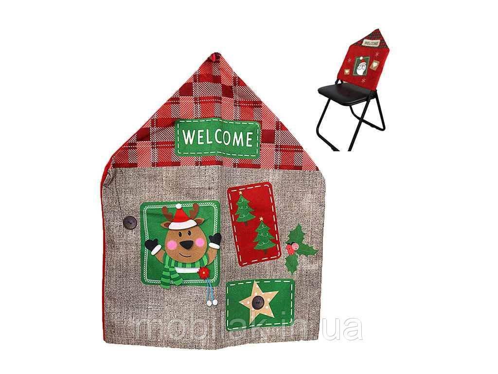 Новорічний декор на спинку стільця Новий Рік 58*47см. 20A364-10C ТМ КИТАЙ