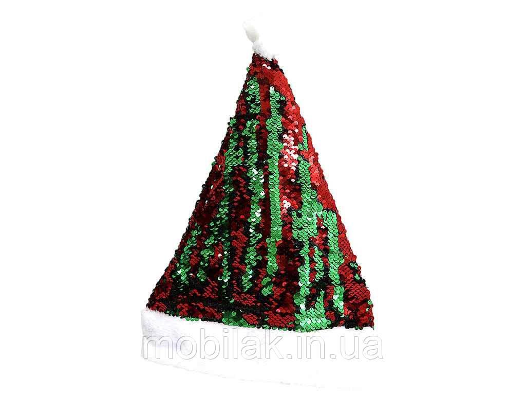 Ковпак новорічний Червоно-зелений з паєтками 29*40см. 9922DSCN ТМ КИТАЙ