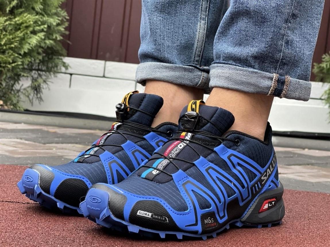 Salomon Speedcross 3 демисезонные мужские кроссовки в стиле Саломон синие с темно-синим