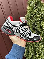 Туфлі чоловічі кросівки Salomon Speedcross 3 в стилі Саломон світло-сірі з червоним