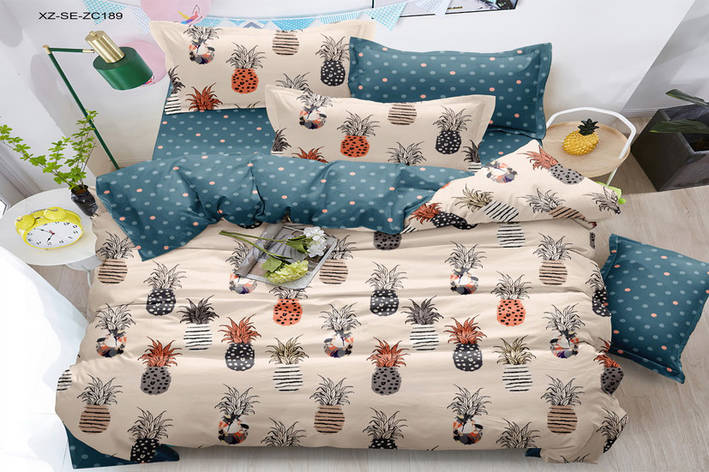Двуспальный комплект постельного белья 180*220 сатин (15996) TM КРИСПОЛ Украина, фото 2