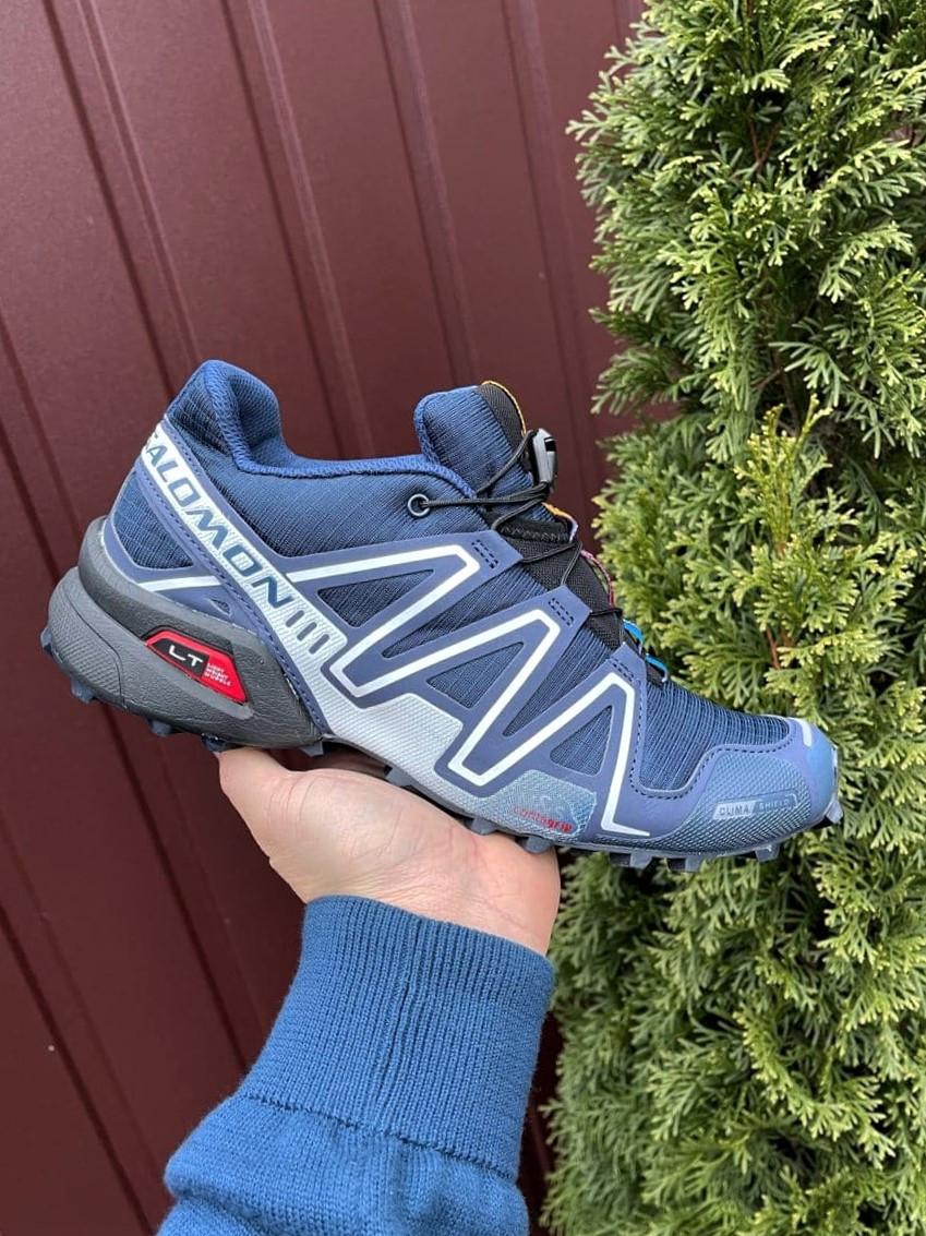 Демисезонные мужские кроссовки Salomon Speedcross 3 в стиле Саломон темно-синие