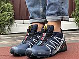 Демисезонные мужские кроссовки Salomon Speedcross 3 в стиле Саломон темно-синие, фото 5