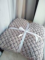Плед детский вязанный из пряжи Alize puffy (кофейный) 200х200
