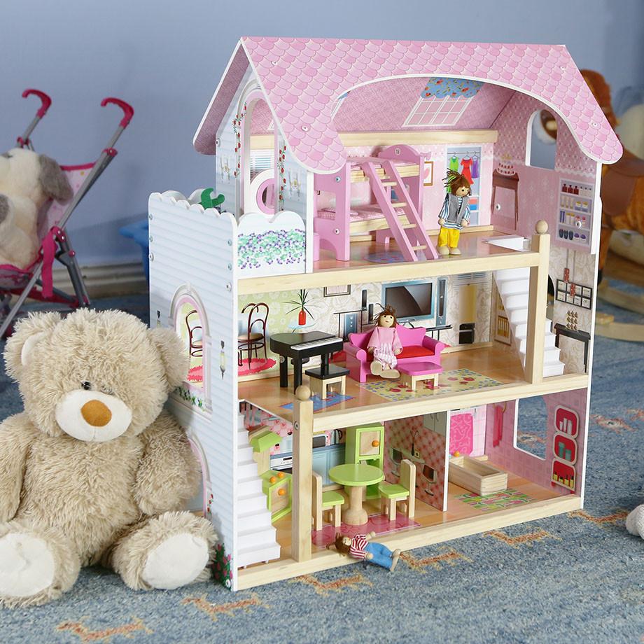 Деревянный дом для кукол с мебелью Байковый ECOTOYS