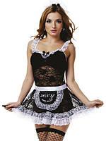 Еротичний костюм покоївки чорно-білий Obsessive, розмір S/M, 5 предметів, Польща + ПОДАРУНОК!!!