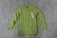 Вязаный свитер для девочек 4-10-12лет Розовый, Малиновый,  Салатовый
