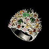 Серебряное кольцо натуральный изумруд, хромдиопсид, турмалины р18, фото 3