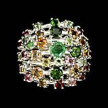 Серебряное кольцо натуральный изумруд, хромдиопсид, турмалины р18, фото 2