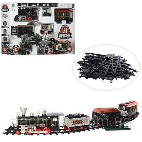 Игрушечная железная дорога длина пути 650 см, муз (рус), свет, дым, на батарейке, в коробке, 80-44-11,5 см