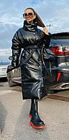 Модная куртка женская зимняя длинная из эко кожи