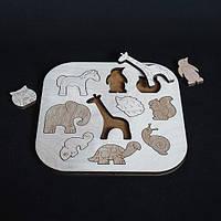 Деревянные пазлы фигурки для детей Зоопарк развивающие