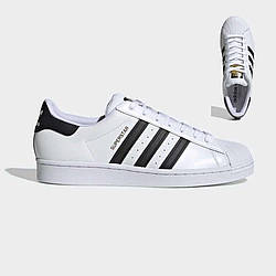 Кроссовки Adidas SuperStar White Black Белые мужские