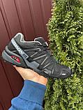 Salomon Speedcross 3 демисезонные мужские кроссовки в стиле Саломон черные с серым, фото 4