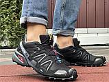 Salomon Speedcross 3 демисезонные мужские кроссовки в стиле Саломон черные с серым, фото 5