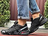 Salomon Speedcross 3 демисезонные мужские кроссовки в стиле Саломон черные с серым, фото 2