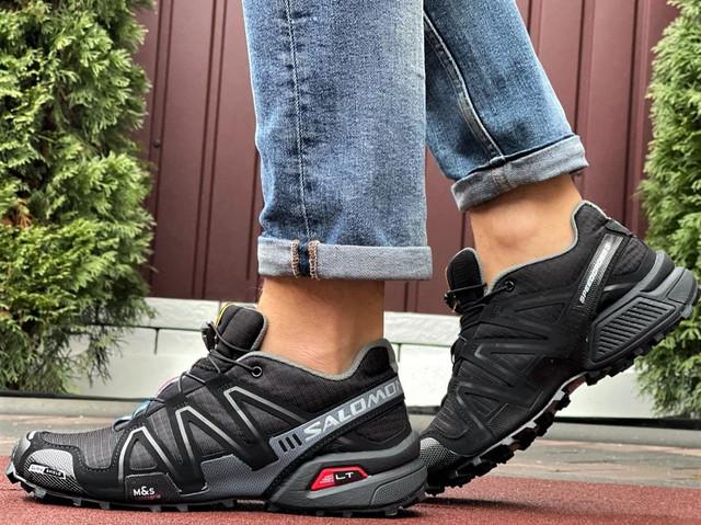 Salomon Speedcross 3 демисезонные мужские кроссовки в стиле Саломон черные с серым