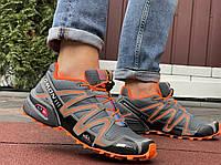 Туфлі чоловічі кросівки Salomon Speedcross 3 в стилі Саломон сірі з помаранчевим