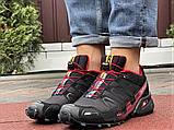 Salomon Speedcross 3 демисезонные мужские кроссовки в стиле Саломон черные с бордовым, фото 3